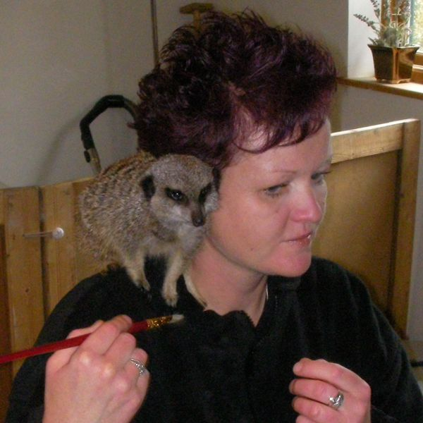 clare with a meerkat